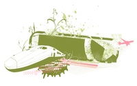 Vector illustration of grunge style urban background with train and airplane