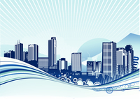 Vector illustration of Big City.  Blue urban background with abstract composition of dots and curved lines.