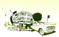 Vector Illustration of old vintage custom collector's car on Urban abstract background in grunge style