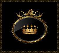 Illustration luxury gold ornament with crown on black background - vector 60016008632| 写真素材・ストックフォト・画像・イラスト素材|アマナイメージズ