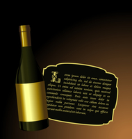 Illustration the elite wine bottle with white gold label for design invitation card - vector