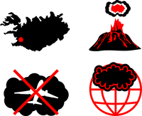 Cloud of volcanic ash. Vector silhouette icons
