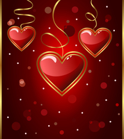 Illustration congratulation card with heart for Valentine's day - vector