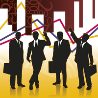 Businessmen silhouettes on conceptual background