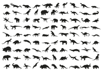 Dinosaur silhouettes isolated on white