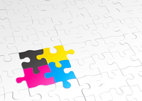 Vector illustration of abstract background made of jigsaw puzzle templates with 4 pieces in different colors
