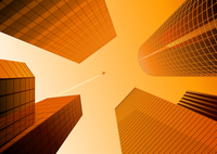 Vector illustration of Looking up at skyscrapers in the orange city and airplane in the sky 60016008852| 写真素材・ストックフォト・画像・イラスト素材|アマナイメージズ