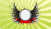 Vector illustration of insignia or badge with wings and  banner, perfect to place your text or image