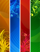 Vector illustration of Banners background. Colourful Abstract floral design set