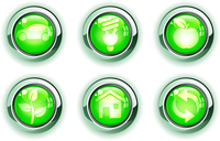 Vector illustration set of green ecologe icons