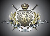 Vector illustration of heraldic shield or badge with two swords, golden lion, crown, banner and floral elements 60016008972| 写真素材・ストックフォト・画像・イラスト素材|アマナイメージズ