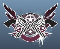 Vector illustration of Two cowboy revolver guns with a sheriff star and shield on the grunge Background 60016008993| 写真素材・ストックフォト・画像・イラスト素材|アマナイメージズ