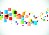 Vector illustration of abstract party Background with funky colorful square blocks 60016009039| 写真素材・ストックフォト・画像・イラスト素材|アマナイメージズ