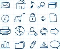 Vector illustration of style handwriting icon set  for common internet functions 60016009073| 写真素材・ストックフォト・画像・イラスト素材|アマナイメージズ