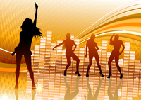 Vector illustration of abstract party Background with dancing girl silhouettes
