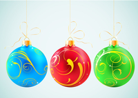 Vector illustration of colored collection of hanging shiny christmas decoration