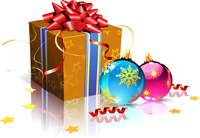 Vector illustration of christmas background with cool gift box and Christmas decoration