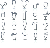 Vector illustration of original Alcohol Glasses with different styles