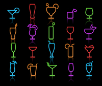Vector illustration of neon original color Alcohol Glasses with different styles