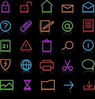 Vector set of elegant neon simple icons for common computer functions 60016009160| 写真素材・ストックフォト・画像・イラスト素材|アマナイメージズ