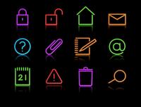 Vector set of elegant neon simple icons for common computer functions 60016009168| 写真素材・ストックフォト・画像・イラスト素材|アマナイメージズ