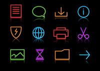 Vector set of elegant neon simple icons for common computer functions 60016009169| 写真素材・ストックフォト・画像・イラスト素材|アマナイメージズ