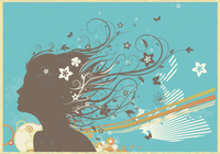 Vector illustration of grunge retro background with young woman's face and floral elements