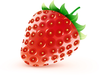 Vector illustration of cool fresh ripe sweet strawberry isolated on white background