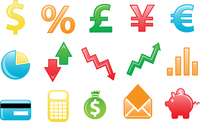 Vector illustration of colored financial icons. You can use it for your website, application, or presentation