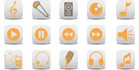 Vector illustration of music/audio icons.You can use it for your website, application or presentation