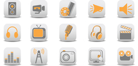 Vector illustration of video and audio icons.You can use it for your website, application or presentation.
