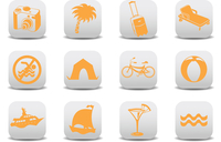 Vector illustration of  icon set or design elements relating to summer tourism