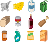 Vector illustration of  icon set or design elements relating to supermarket. Food, drink and other items.