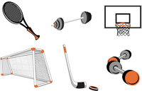 Vector illustration of  icon set or design elements relating to sports-football, basketball, tennis, hockey and fitness.