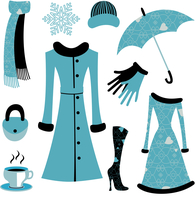 Vector illustration of woman accessories set related to winter glamour fashion. 60016009282  写真素材・ストックフォト・画像・イラスト素材 アマナイメージズ