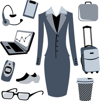 Vector illustration of bussiness woman accessories set.