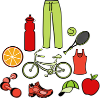 Vector illustration of woman accessories set related to healthy life style.