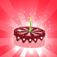 Vector illustration of birthday cake with the candle.