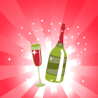 Vector illustration of wine bottle and  glass on the red background, decorated with beautiful stars. 60016009298  写真素材・ストックフォト・画像・イラスト素材 アマナイメージズ
