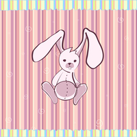 Cartoon vector illustration of Cute little bunny on the retro striped  background
