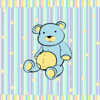 Cartoon vector illustration of Cute little teddy bear on the retro striped  background
