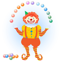 Vector illustration of clown juggling colorful balls. You can place letters on the balls to spell words. 60016009359| 写真素材・ストックフォト・画像・イラスト素材|アマナイメージズ
