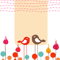 Vector Illustration of retro Flowery design greeting card with two retro-style birds