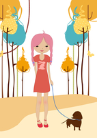 Vector illustration of little young girl walking with the dog.