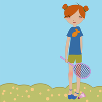 Vector Illustration of the little girl playing outdoors.