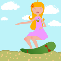 Vector Illustration of funky Young girl riding skateboard