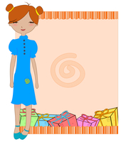Vector Illustration of cool invitation frame with funky Young girl 60016009437| 写真素材・ストックフォト・画像・イラスト素材|アマナイメージズ