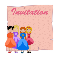Vector Illustration of beautiful invitation with four little girls.