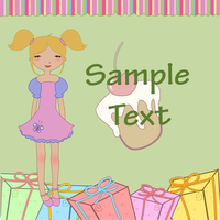 Vector Illustration of funny little girl with present boxes and sweet cake.