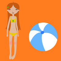 Vector Illustration of funny summer background with the little girl and the ball. 60016009446| 写真素材・ストックフォト・画像・イラスト素材|アマナイメージズ